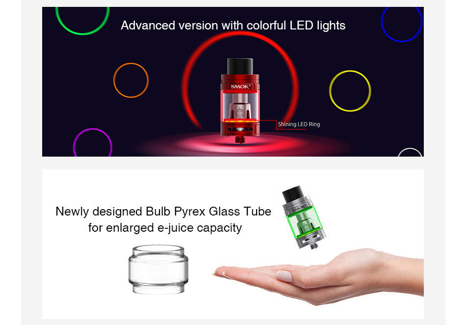 Smok TFV8 Big Baby Tank LED Ring & Glass Tube