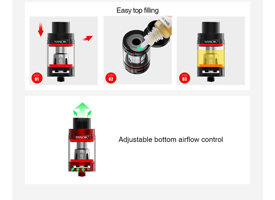 Smok TFV8 Big Baby Tank Filling System & Airflow Control