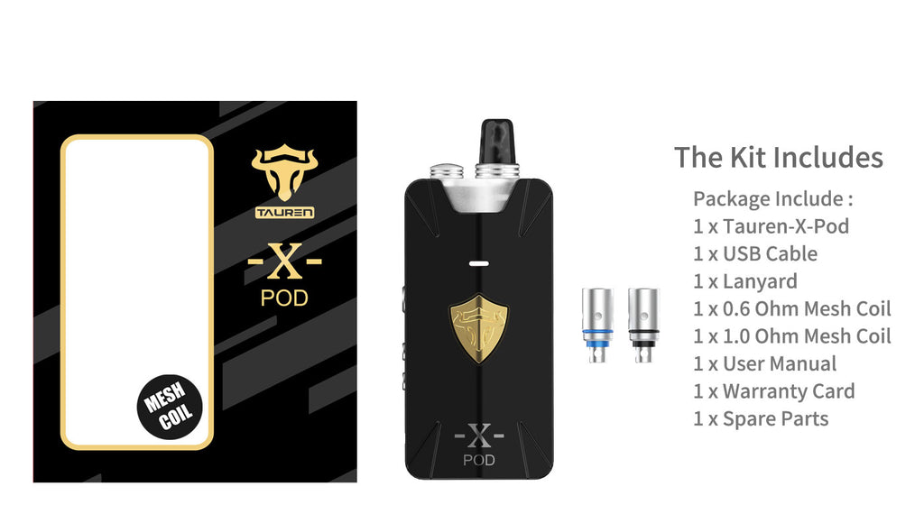 Thunderhead Creations Tauren X Vape Pod System Starter Kit Mesh Version Magnet Package Includes