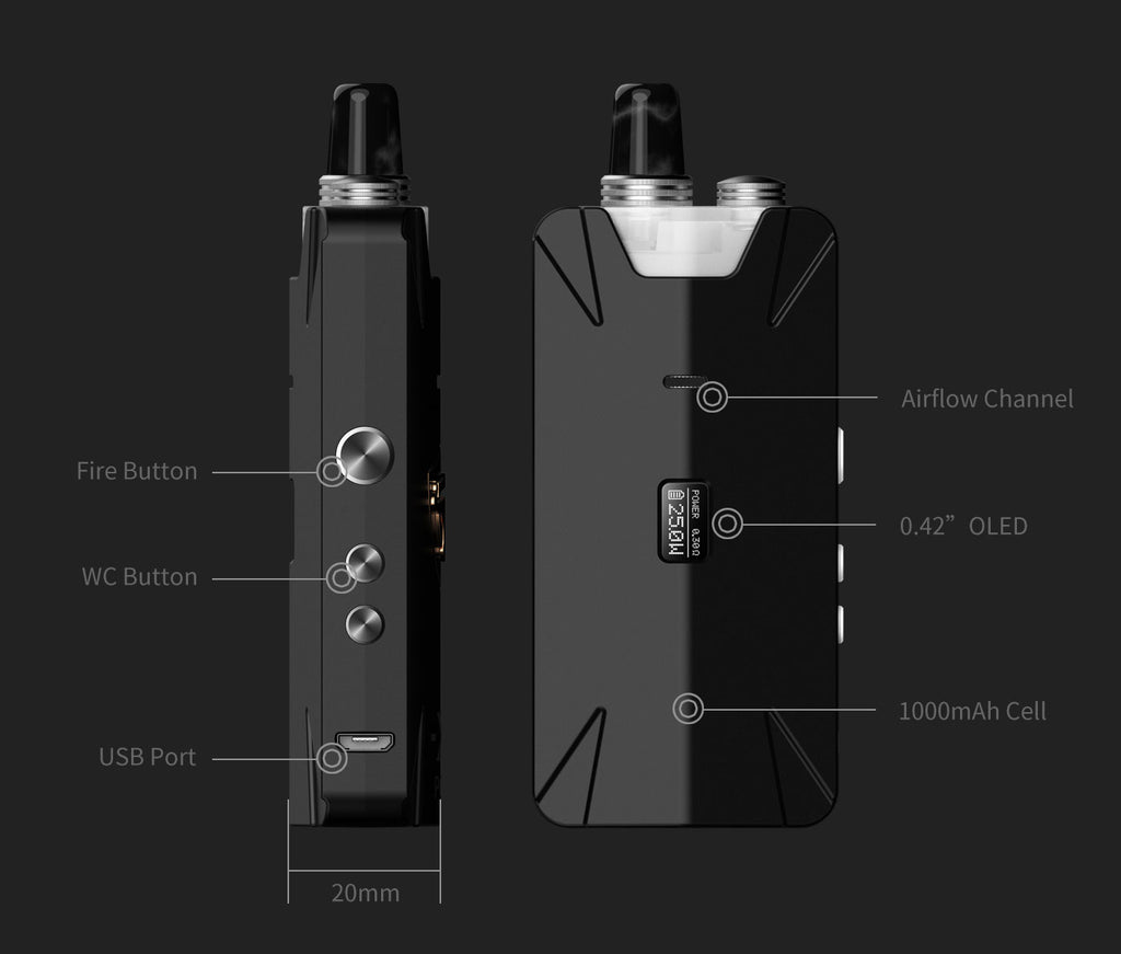 Thunderhead Creations Tauren X Vape Pod System Starter Kit Mesh Version Components - 1000mAh 2ml