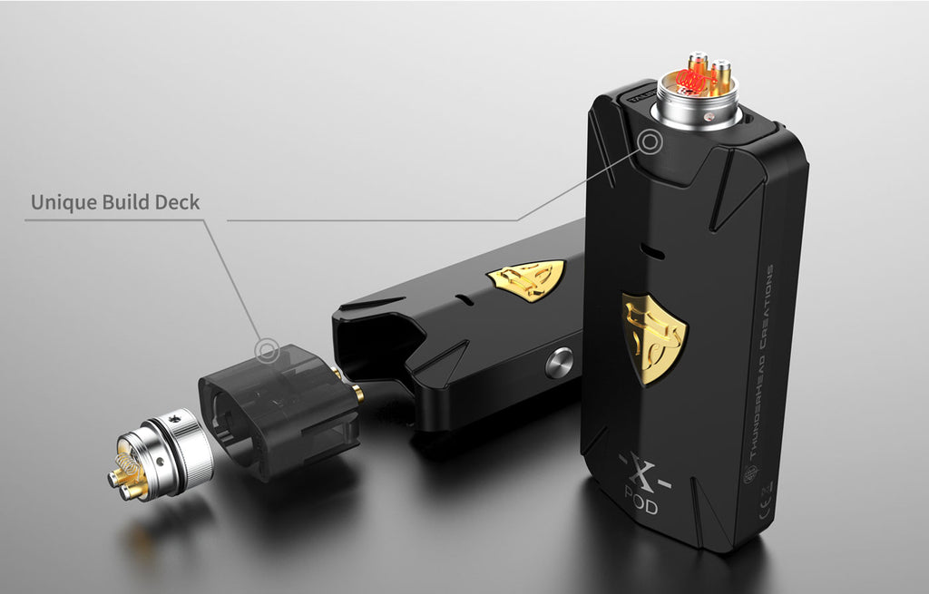 Thunderhead Creations Tauren X Vape Pod System Starter Kit RBA Version Unique Build Deck - 1000mAh 2ml
