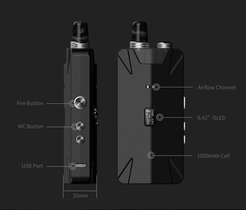 Thunderhead Creations Tauren X Vape Pod System Starter Kit RBA Version Components - 1000mAh 2ml