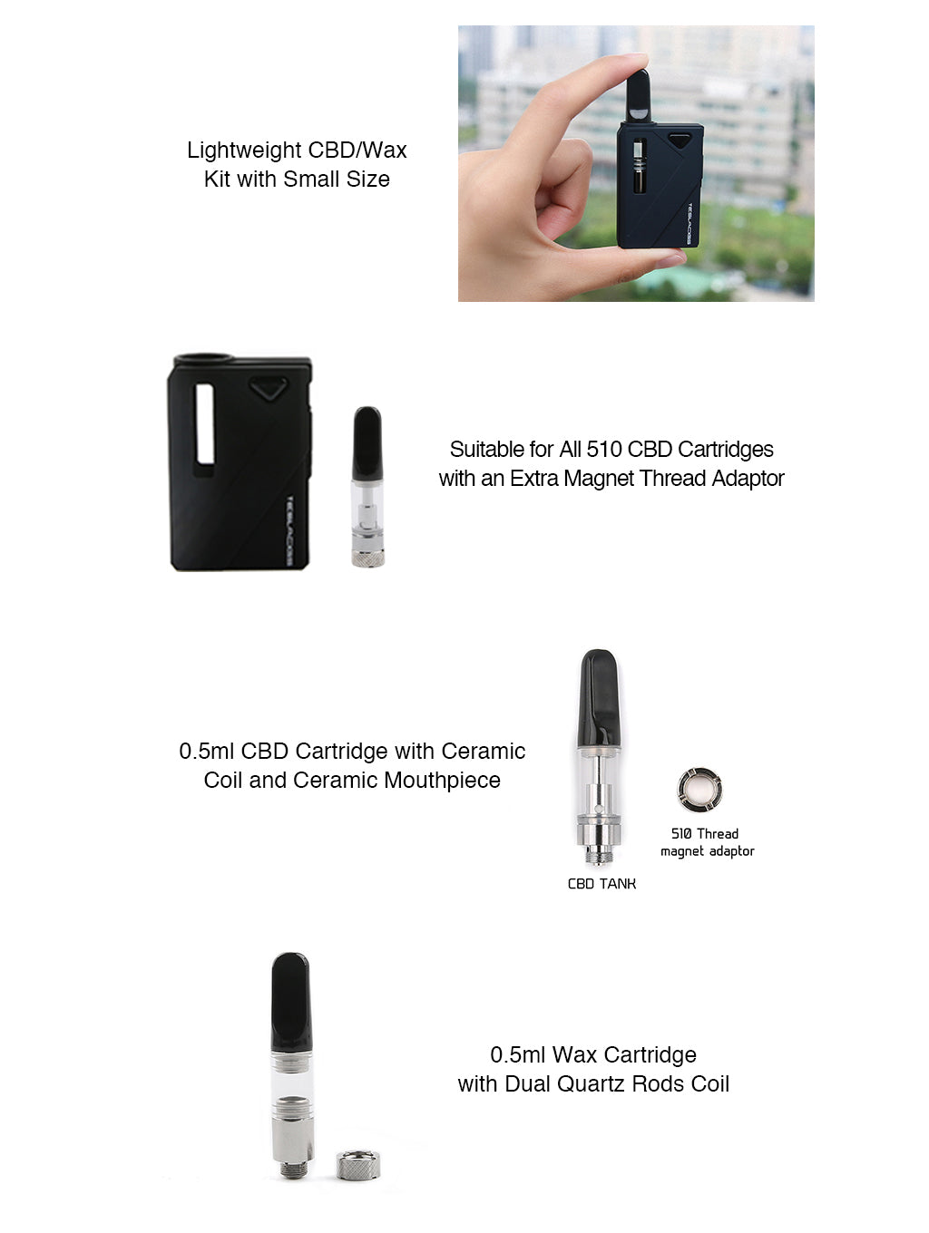 Tesla Mini DUO Kit CBD and WAX Vaporizer Kit Specifications