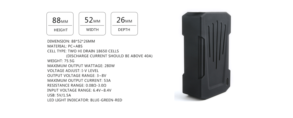 Teslacigs Invader 4X Mod Specifications