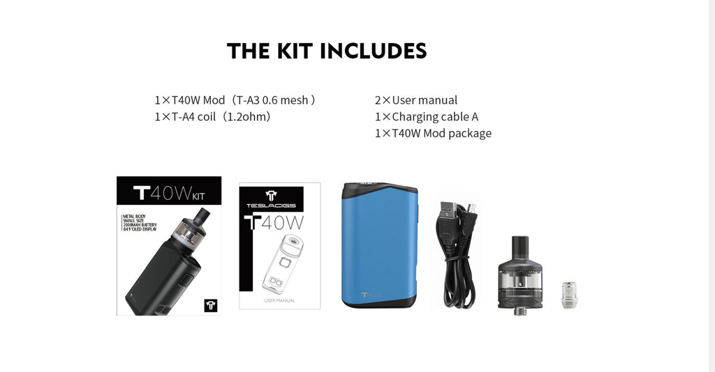 Teslacigs T40W VW Mod Kit 2000mAh 1.8ml Package Includes