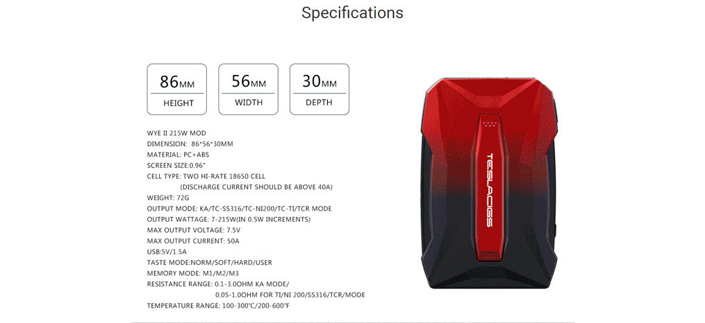 Teslacigs WYE II 215W KIT Specifications