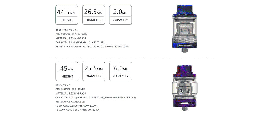 Teslacigs WYE II 215W KIT Tank Specifications