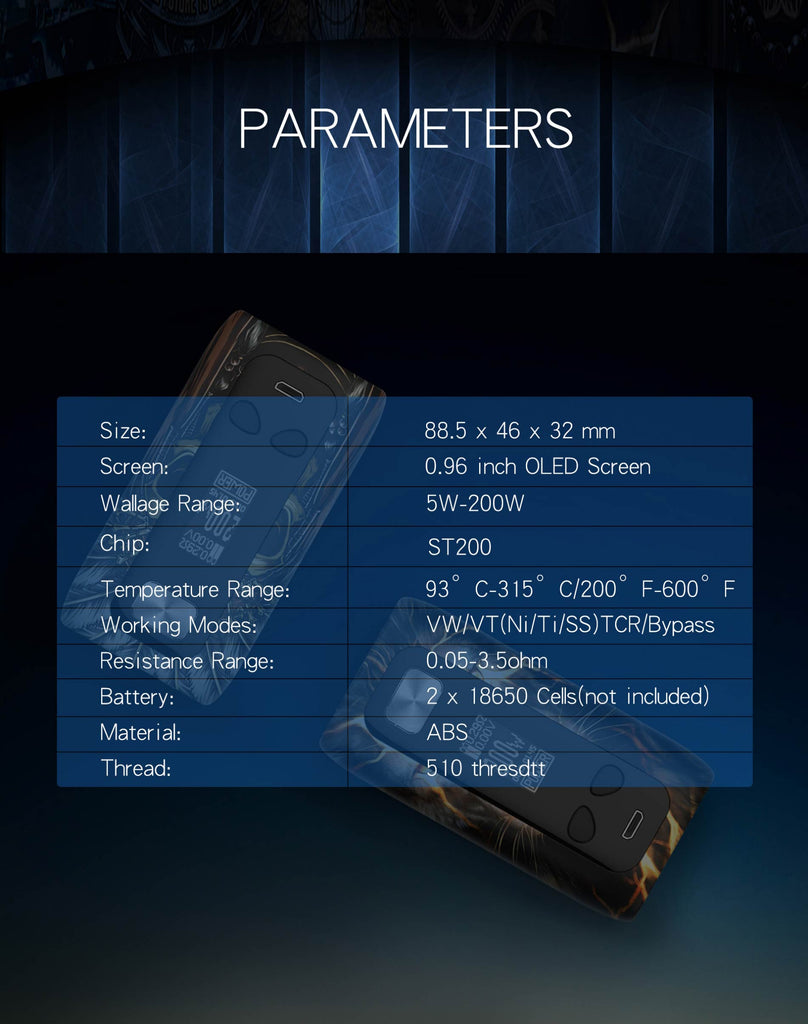 Think Vape Thor TC Box Mod Parameters
