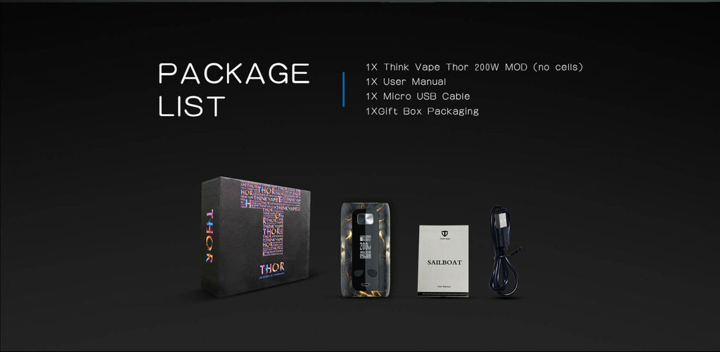 Think Vape Thor TC Box Mod Package List