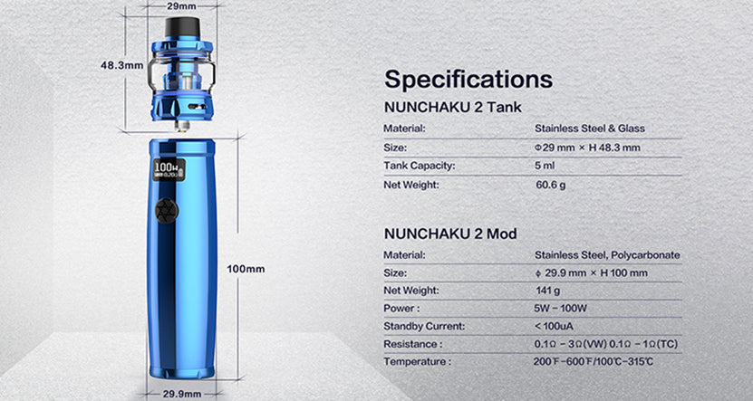 Uwell Nunchaku 2 TC Mod Kit 100W 5ml Specifications