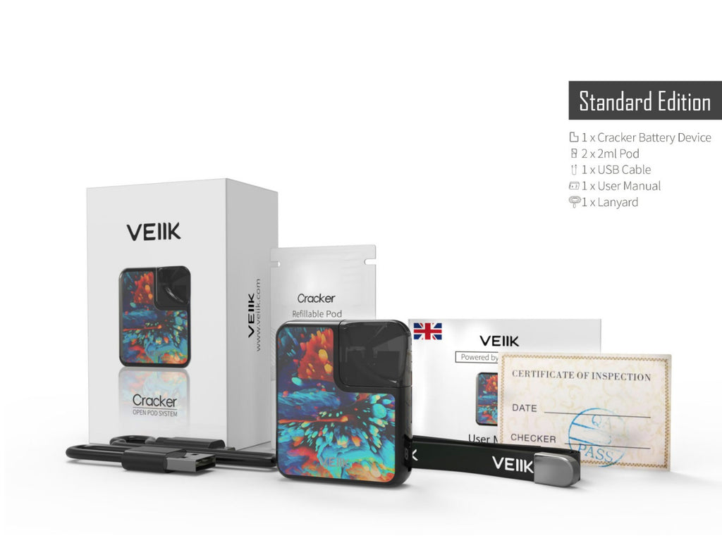 VEIIK Cracker Vape Pod System Starter Kit 500mAh 2ml Package Includes