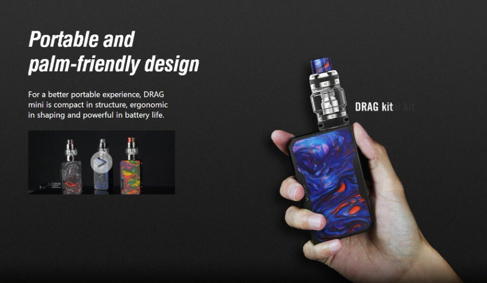 VOOPOO Drag Mini Platinum TC Mod Kit Portable And Palm-friendly Design