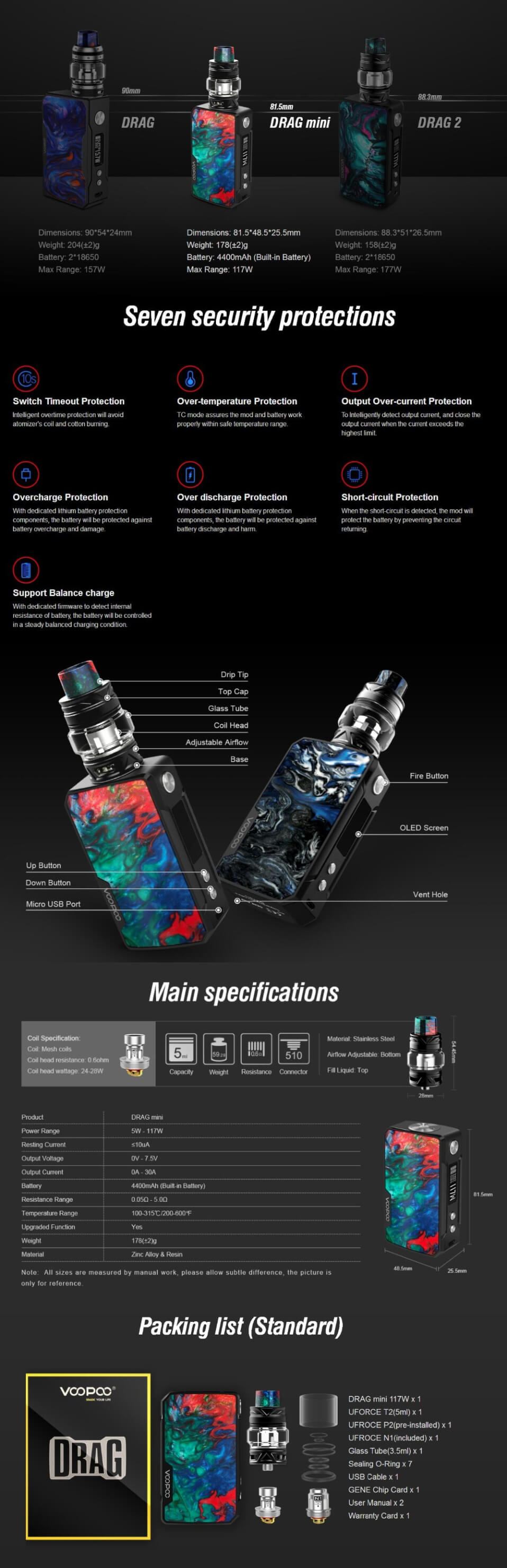VOOPOO Drag Mini Platinum TC Mod Kit Specification, Components & Kit Includes