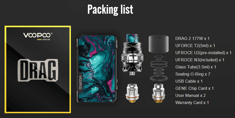 VOOPOO Drag 2 TC Mod Kit Package Includes
