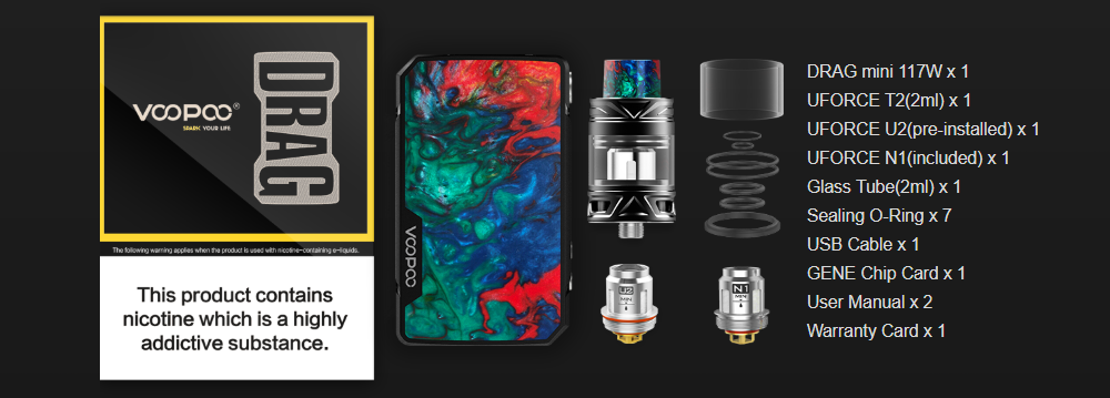 VOOPOO Drag Mini TC Mod Kit Package Includes