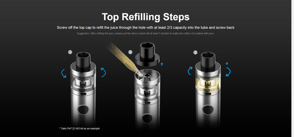 VOOPOO PnP 20 / 22 AIO Pen Starter Kit Top Refilling Steps