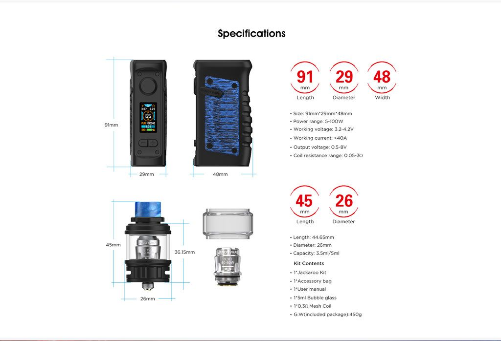 Vandy Vape Jackaroo TC Mod Kit Specifications