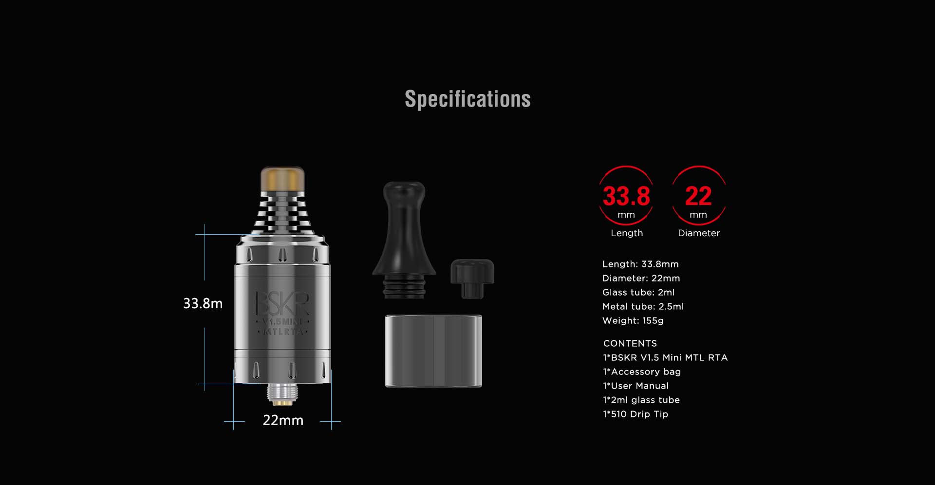 Vandy Vape Berserker V1.5 Mini MTL RTA Specifications