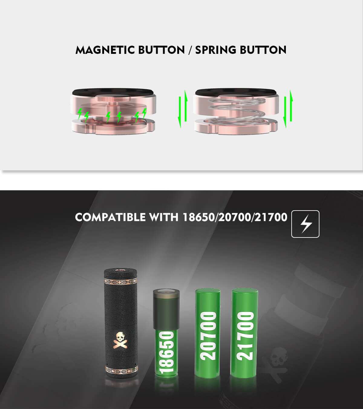 Vandy Vape Bonza Mechanical Mod Kit Button & Battery