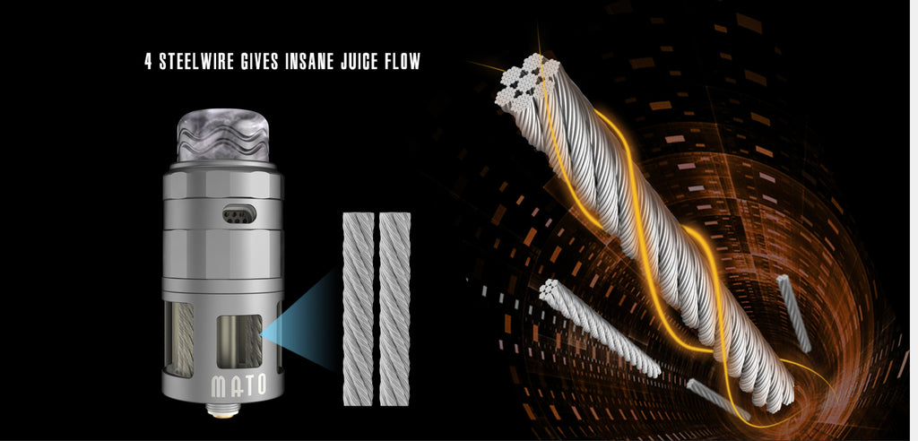 Vandy Vape Mato DL RDTA 4 Steel Wire Gives Insanopqr Flow