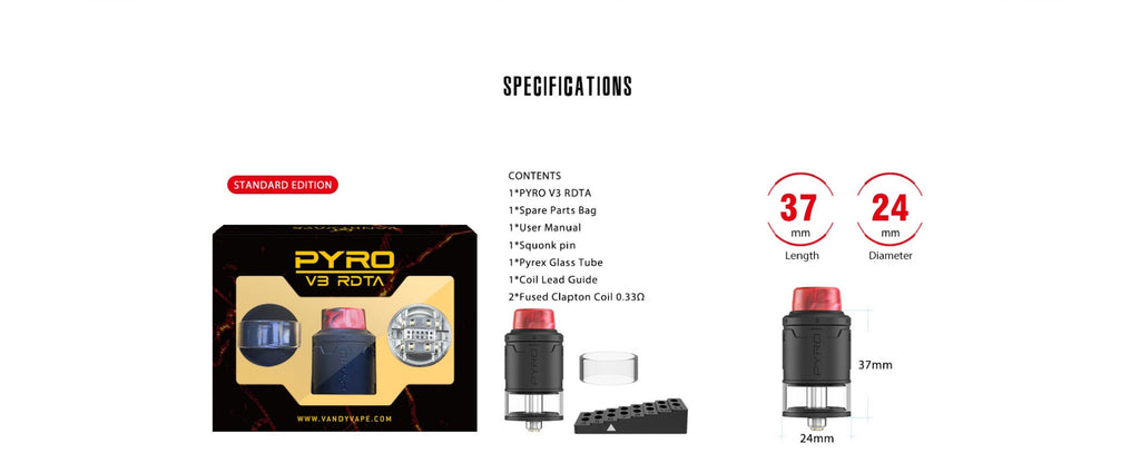Vandy Vape PYRO V3 RDTA Specificatons & Package Contents