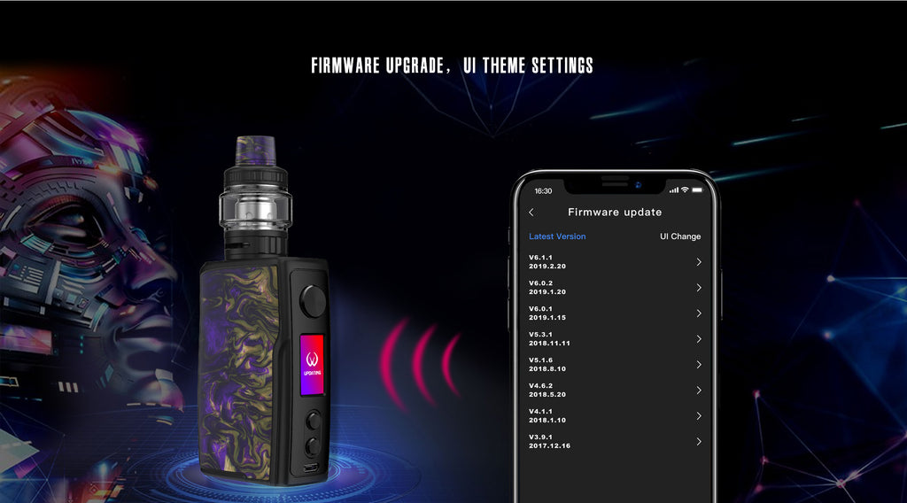 Vandy Vape Swell TC Box Mod Kit Firmware Upgrade, UI Theme Settings