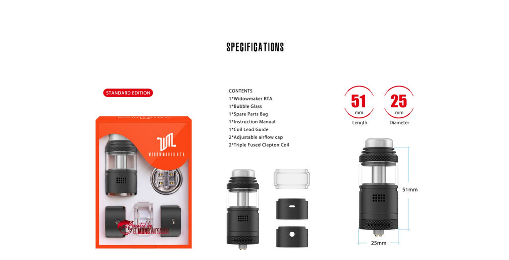 Vandy Vape Widowmaker RTA with Dual Airflow System 6ml 25mm Specifications