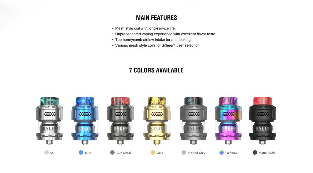 Vandy Vape Kylin M RTA 3ml Main Features & 7 Colors Available