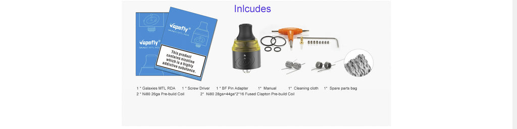 Vapefly Galaxies MTL RDA 22mm Package Includes