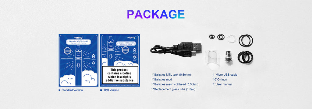 Vapefly Galaxies MTL Vape Pen Kit Package Includes