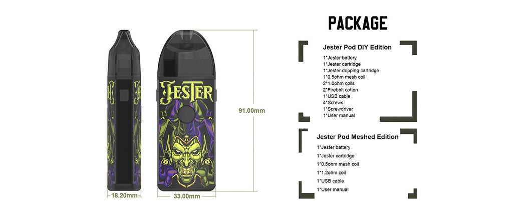 Vapefly Jester Vape Pod System Package Includes