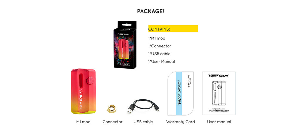 Vapor Storm M1 800mAh VV Box Mod Package Contains
