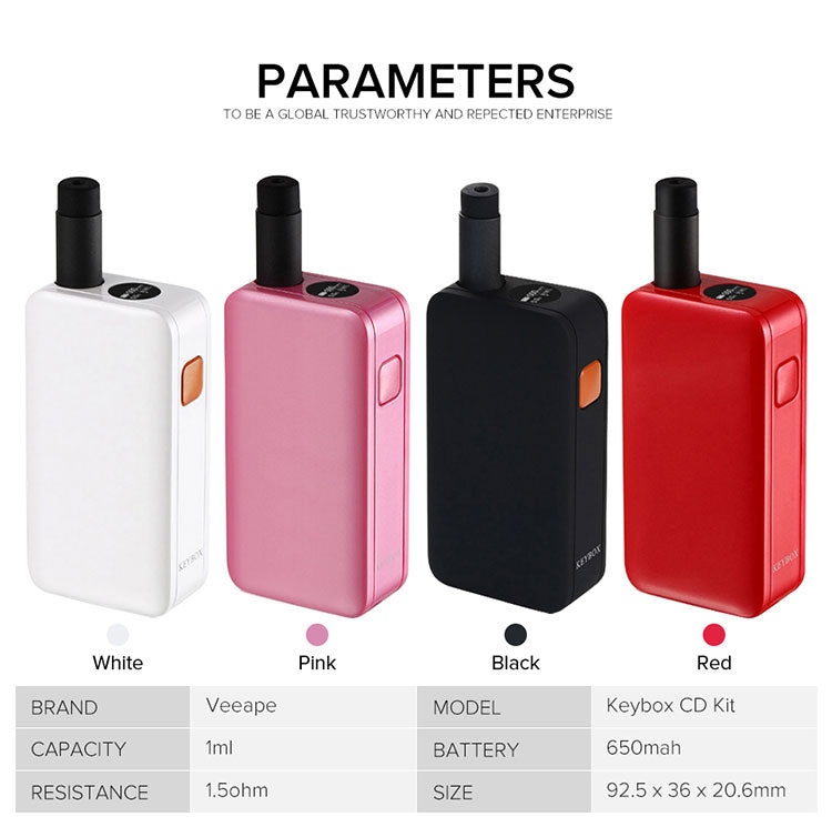 Veeape Keybox Pod System VV Starter Kit 650mAh 1ml Parameter