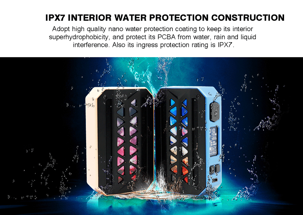 Vzone eMASK TC Box Mod IPX7 Interior Water Protectoin Construction