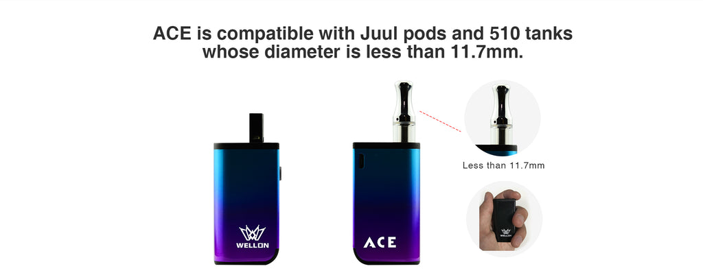 WELLON ACE Is Compatible With Juul Pods & 510 Tanks whose diameter is less than 11.7mm