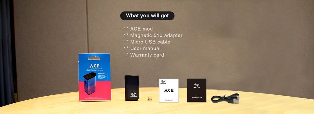 WELLON ACE 2-in-1 VV Box Mod 400mAh Compatible Kit Includes