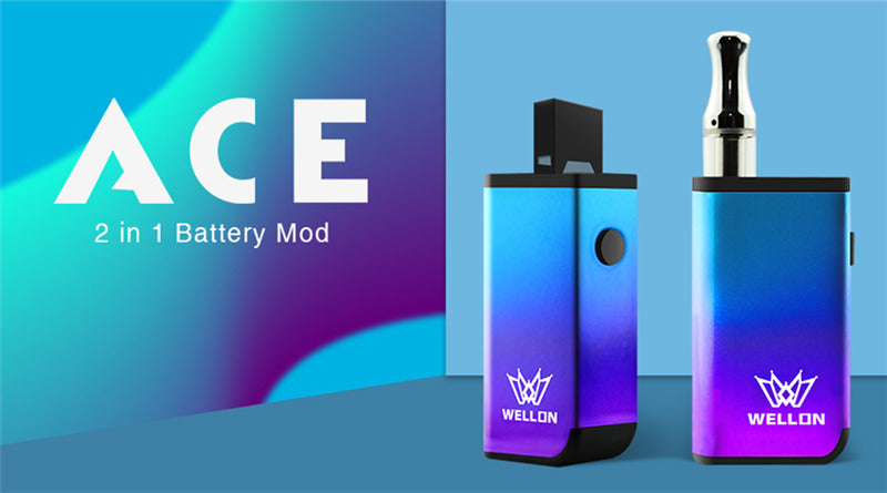 WELLON ACE 2-in-1 VV Box Mod 400mAh Compatible with JUUL Pod & 510 Tank