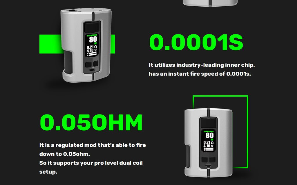 WOTOFO x Tony B Dyadic Squonk Mod 0.0001S Firing Speed & Support 0.05ohm Resistance