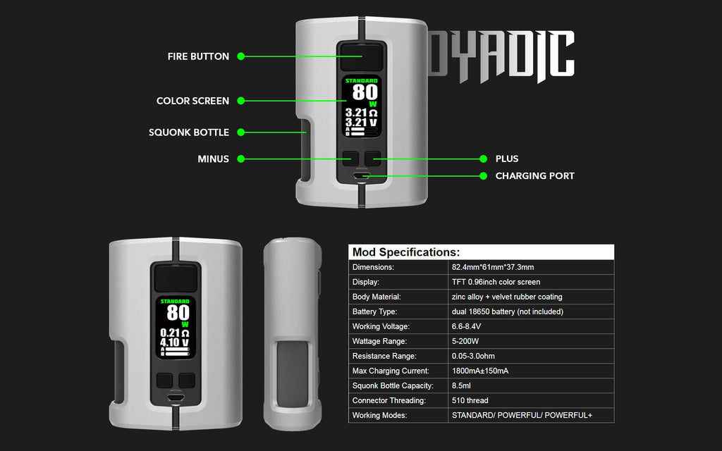 WOTOFO x Tony B Dyadic Squonk Mod Specifications