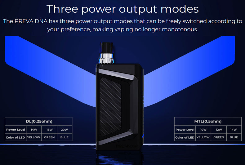 Wismec Preva DNA Vape Pod System VW Starter Kit 3 Power Output Modes