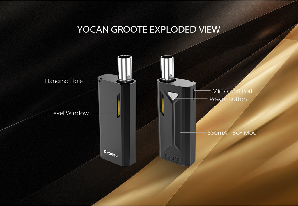 Yocan Groote VV Box Mod 350mAh Exploded View
