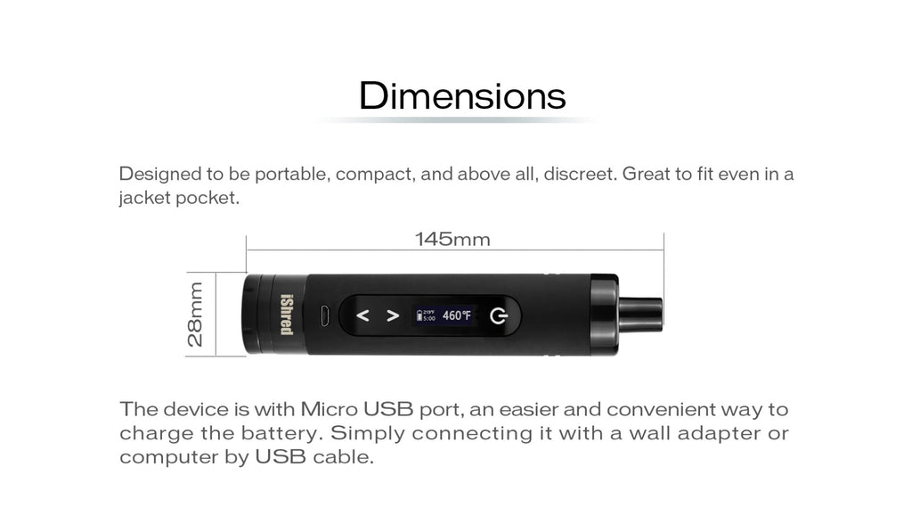 Yocan Ishred Dry Herb Vaporizer Dimensions