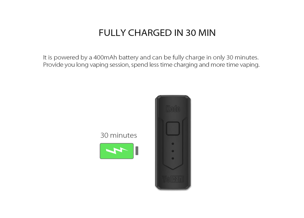 Yocan Kodo VV Box Mod 400mAh Full Charged In 30 Min