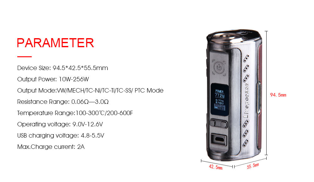 Yosta Livepor TC Box Mod 256W Parameter