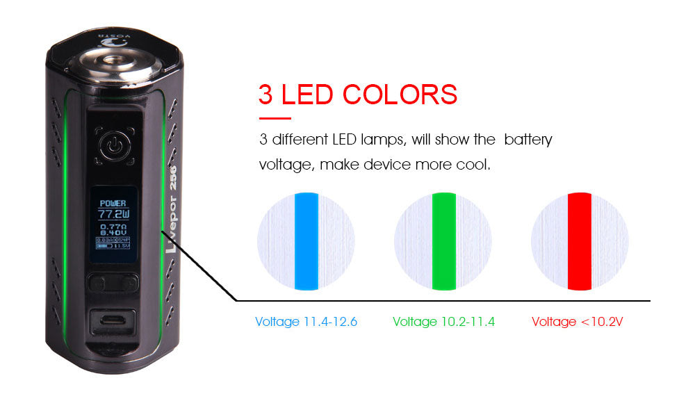 Yosta Livepor TC Box Mod 256W 3 LED Colors
