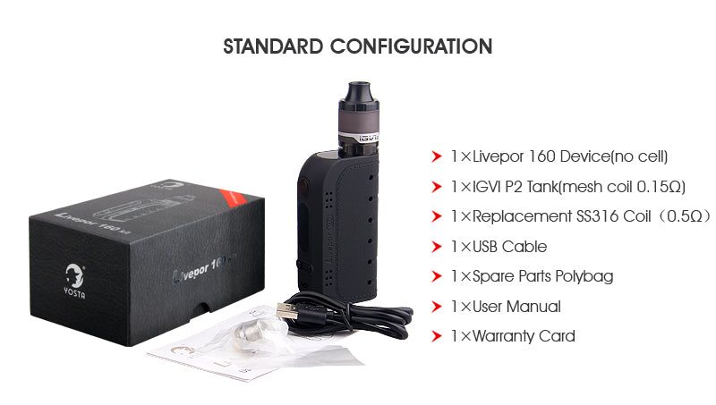 Yosta Livepor TC Box Mod Kit Package Contents