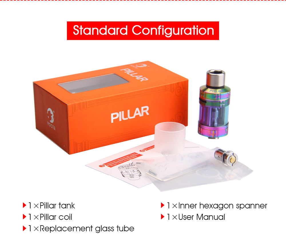 Yosta Pillar Tank 3.5ml 0.5ohm Standard Configuration