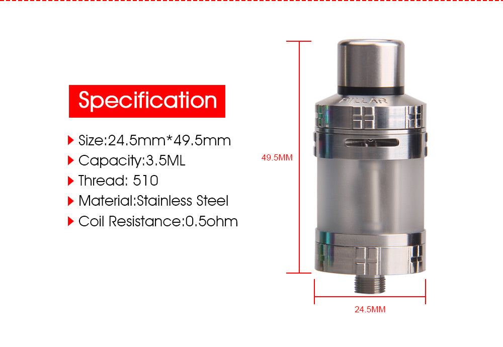 Yosta Pillar Tank 3.5ml 0.5ohm Specification