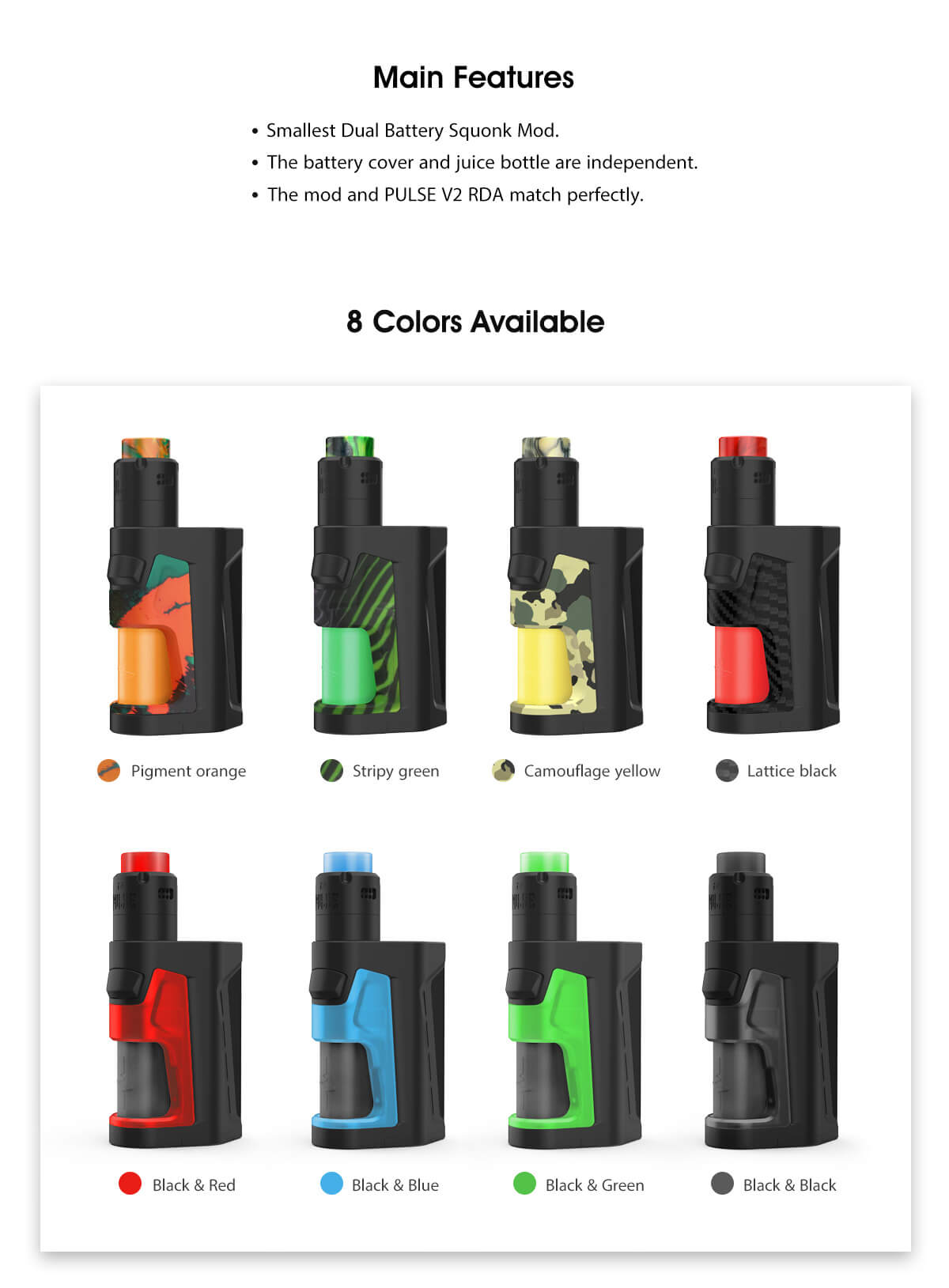 Vandy Vape Pulse Dual Kit Main Features & 8 Colors Available