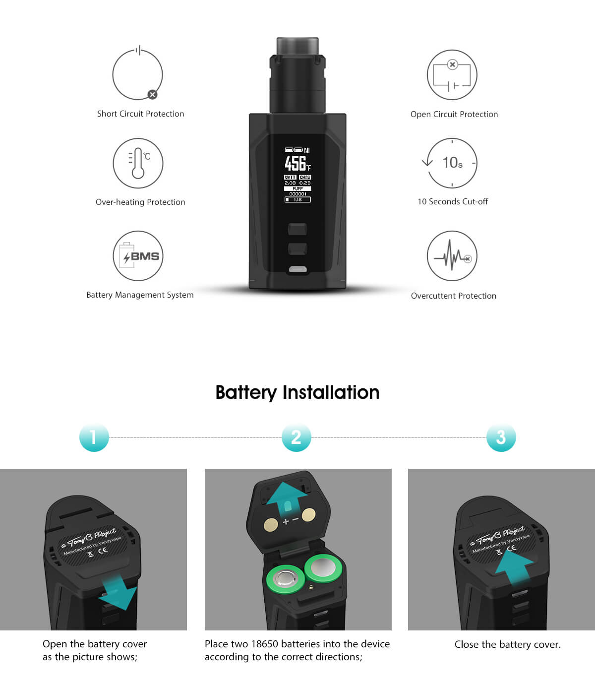 Vandy Vape Pulse Dual Kit Multiple Protection & Battery Installation